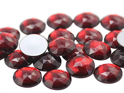 25mm Ruby Garnet A28 Flat Back Round Acrylic Jewels Pro Grade - 20 Pieces