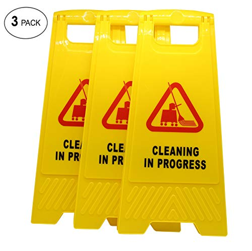 AMENITIES DEPOT (Pack of 3) 2-Sided Fold-Out Floor Safety Sign with Cleaning in Progress …