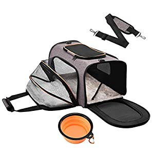 QILEBI Cat Carrier Airline Approved,Expandable Soft Sided Pet Carrier Bag with 5 Mesh Windows for Ventilation,Collapsible Dog Carrier with Removable Fleece Pad and Foldable Bowl for Train,Car Travel