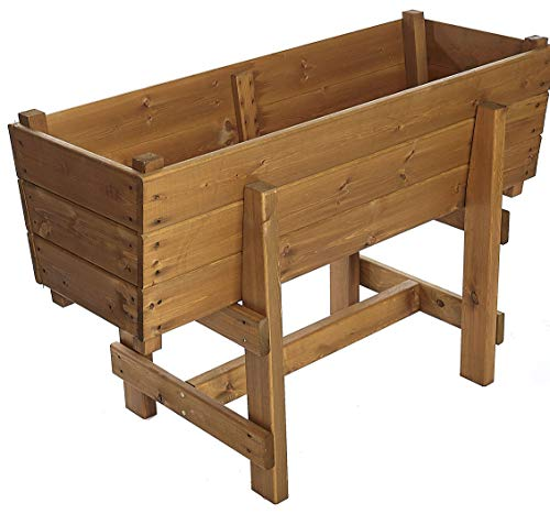 Large Extra Deep Raised Wooden Trough Garden Planter on Legs - Herb Plant Flower High Wood Container - Vegetable Trough