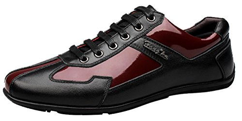 QYY-1619 New Mens Casual Leather Light Weight Lace Up Smart Shoes Red 41 EU