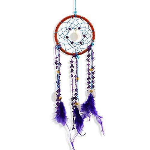 Yishelle Main Circulaire Coloré Dream Catcher Net Circulaire avec des Plumes Shell dans Une Boîte Cadeau pour Home Wall Car Hanging Décoration Ornement Cadeau