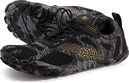 WHITIN Zapatilla Minimalista de Barefoot Trail Running para Hombre Five Fingers Fivefingers Zapato Descalzo Correr Deportivas Fitness Gimnasio Calzado Asfalto Negro 43 EU
