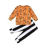 Carolilly Halloween - Juego de 2 piezas de camiseta de manga larga con estampado de calabaza + pantalón a rayas negro y blanco amarillo 6-12 Meses