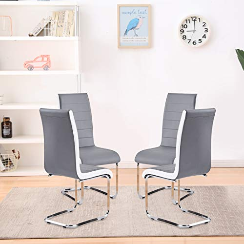 Dining Chairs Set of 4,Modern Indoor Kitchen Chairs,Sturdy Chrome Chair Legs and Faux Leather,Ergonomic Design Dining Room Chairs with High Back Soft Padded for Home Kitchen Apartment(4 Grey Chairs)