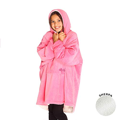 THE COMFY | The Original Oversized Sherpa Blanket for Kids, Seen On Shark Tank, One Size Fits All Pink