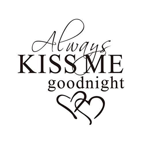 Adesivo de parede em vinil Vosarea Always Kiss Me Goodnight Decalque de parede com citação de decoração de arte de parede