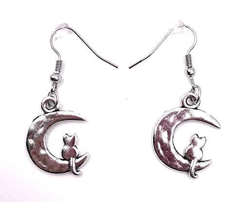 H-Customs Luna con Gato Luna Pendientes de Gato Pendientes Colgante de Metal Plateado