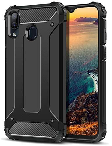 Coolden für Samsung Galaxy M20 Hülle,Premium [Armor Serie] Outdoor Stoßfest Schutzhülle Tough Silikon TPU + PC Bumper Cover Doppelschichter Handyhülle für Samsung M20 (Schwarz)