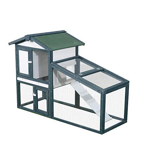 PawHut Gabbia per Conigli Animali in Lengo di Abete Doppia Porta 140 x 65 x 100cm Verde e Bianco