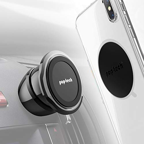 Mini Magnetic Car Phone Holder, Pop-Tech Universal 360 Dash Strong Ball Magnet Cell Phone Mount with Magic Metal Disc for iPhone 11 pro Max, iPad, Samsung Mobile, Socket Grip, Stick on Auto Dashboard