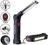 Lampada da Lavoro,USB Ricaricabile COB Lampade di Ispezione,5 Modalità Torcia LED,Lampada Portatile con Magnetica Clip e Gancio, per Riparazione Auto,Officina,Garage,Campeggio,Illuminazione Emergenza