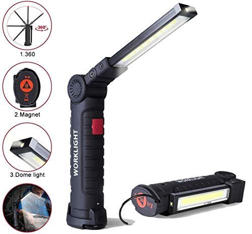 Linterna de Trabajo Recargable,LED COB Portátil Lámpara de Trabajo con Base Magnética y Gancho para Reparación de Autos,Inspeccion,Taller,Garaje,Camping,Iluminación Exterior y de Emergencia