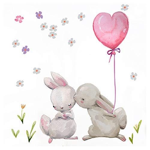 Little Deco Wandtattoo Kinderzimmer Mädchen Hasen mit rosa Herzballon & Blumen Wandaufkleber Babyzimmer Aufkleber Sticker Kinder Wandsticker Junge DL209-3