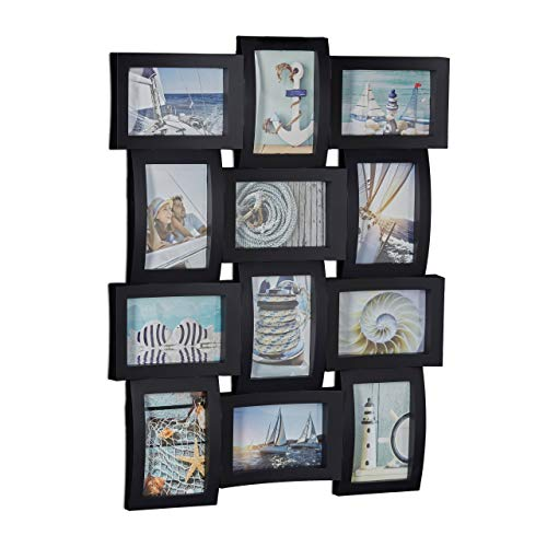 Relaxdays Cadre photos pêle-mêle 12 photos Galerie mur cadre mural HxlxP: 60,5 x 47,5 x 3,5 cm, noir