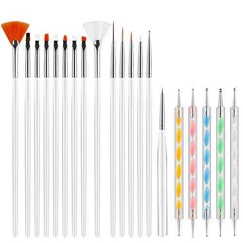 Pinceles para Uñas Acrilicas Profesional Nail Art Cepillo Manicura de Pinceles para Diseño de Uñas 15 pz Blanco Pinceles 5 pz Pluma Taladro