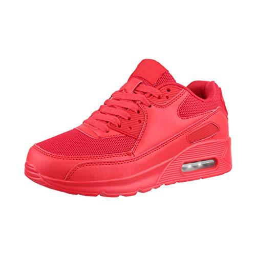 Elara Damen Herren Sneaker Unisex Sport Laufschuhe Turnschuhe Chunkyrayan H001-Z001 Red-41