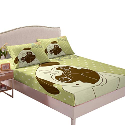 Homewish Dog Fitted Sheet Cartton Pug Puppy Bedding Set 3pcs with 2 Pillowcases Cute Animal Theme Fitted Sheet Set for Kids Boys Girls Micorfiber Bedding All-Round Elastic Pocket,Full Size