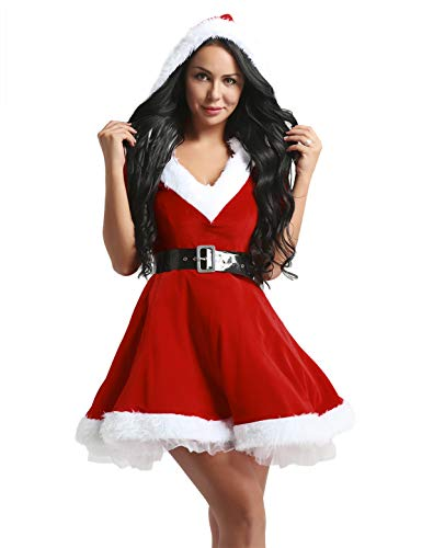 iiniim Disfraz de Navidad Mujer Vestido de Fiesta con Capucha Cosplay Falda Plisada Manga Media de Terciopelo Mam Noel con Cinturn Rojoa M