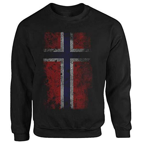 Tex-Ha Norwegen Fahne Flag Wikinger Norway schwarz Sweatshirt Pullover (S)
