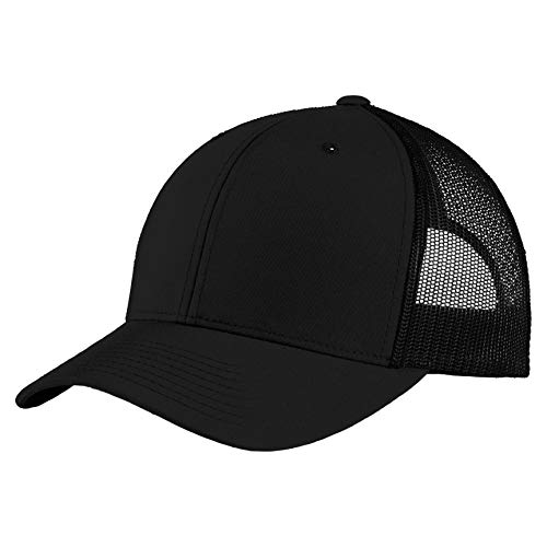 Sport-Tek Men's Yupoong Retro Trucker Cap, Black/Black, One Size