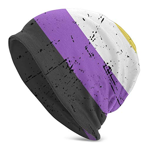 YISHOW Non Binary Pride Flag Beanie Baggy Hat Slouchy Skull Beanie for Men Women