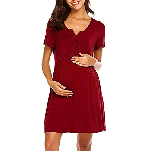 Camisón Lactancia Ropa De Maternidad Mujeres Enfermería Camisones De Maternidad Ropa De Lactancia Vestido De Manga Corta Pijamas De Embarazo-Vino_XXL