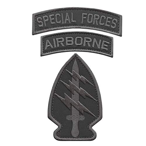 2AFTER1 Bundle Set of 3 Subdued Patches Special Forces SF Airborne US Army Military Morale Tactical Badges