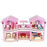 De colores Casa de muñecas, de madera de tres recta al mar Habitación Villa Baby Doll House, Simulación con las luces de casa del juego de chicas Juguetes for Recuerdos regalo de cumpleaños fuerte atr