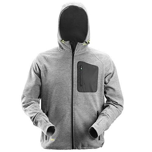 Snickers Mens Workwear Zip Through Fleece Hoodie Grey/Black 8041-L