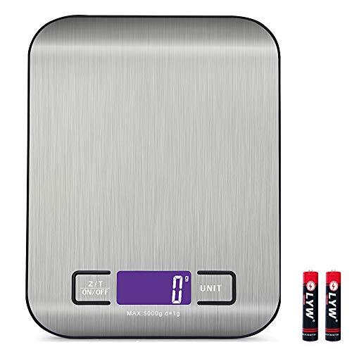 Báscula Digital para Cocina, Bascula Precision Cocina 5kg/1g, Balanza de Alimentos Acero Inoxidable con Gran Pantalla LCD, Balanza de Alimentos MultifuncionalFunción de Tara (Baterías Incluida
