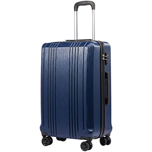Coolife Luggage Expandable(only 28') Suitcase PC+ABS with TSA Lock Spinner 20in 24in 28in (navy, S(20in_carry on))