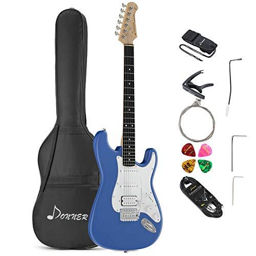 Donner E-Gitarre 39 Zoll Elektrogitarre Set Full-Size mit Tasche, Capo, Gurt, Saiten, Kabel und Plektren (Blau, DST-100T)