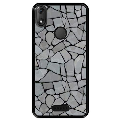 Hapdey silikon Hülle für [ Wiko View Max ] Design [ Abstraktes, modernes Steinmauermosaik ] Schwarze Flexibles TPU