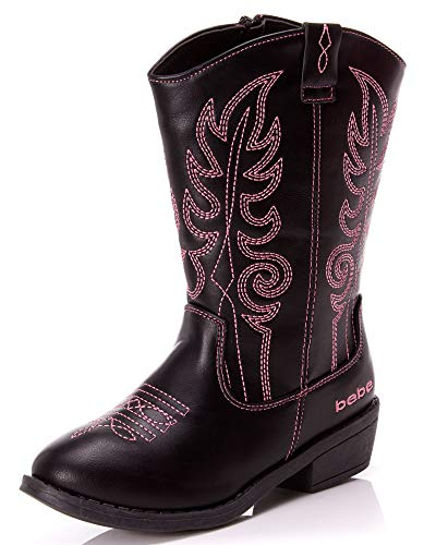bebe Girls Western Cowboy Boot with Easy Side Zipper (Little Kid/Big Kid) (Black/Pink, Numeric_4)