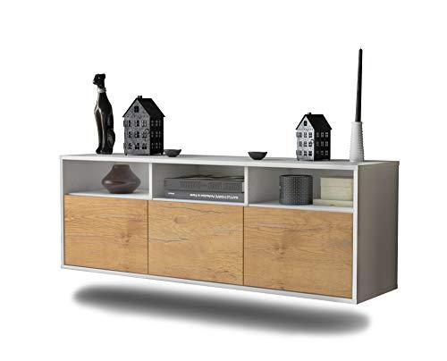 Lowboard Kansas City hängend (136x47x35cm) Korpus weiß matt | Front Holz-Design Eiche | Push-to-Open