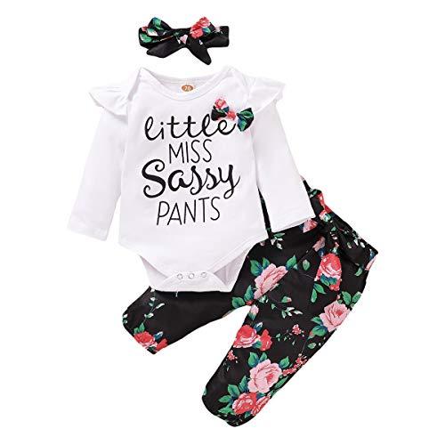 Conjunto de ropa para beb nia, de manga larga, body + pantaln + cinta para la cabeza, 3 piezas, regalo informal, primavera, otoo, cumpleaos, sesiones de fotos, pijamas de beb Blanco-5. 3-6 Meses