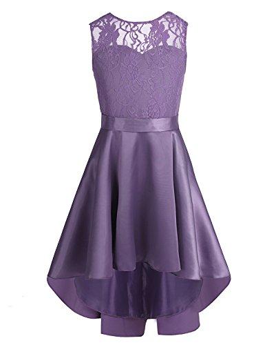 iEFiEL Kinder Kleider festlich Mädchen Taufkleid Blumensmädchenkleid Prinzessin Hochzeit Party Kleid 104 116 128 140 152 164 Dunkel Lila 140