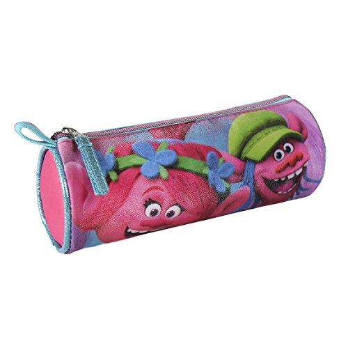 Trolls- Estuche portatodo cilindrico, Color fucsia, 21 cm (Artesanía Cerdá 2100001804)