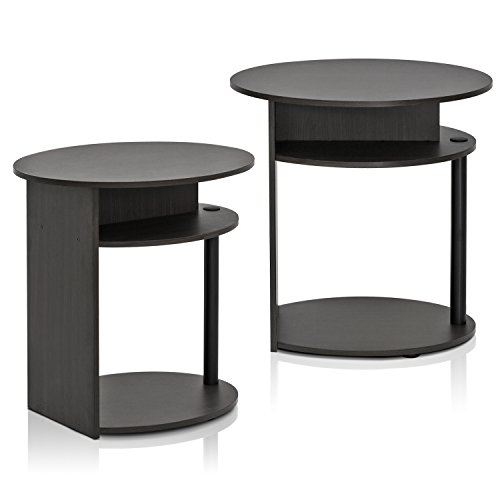 Furinno End Tables, WOOD, Walnut/Black, one size