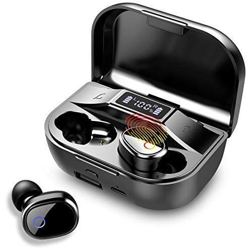 Wireless Earbuds, Bluetooth 5.0 Headphones in-Ear Stereo Earphones, 96H Playing Time, Hi-Fi 3D Stereo Sound Earbuds Built in Mic with Deep Bass for Sports, IPX7 Waterproof, LED Charging Box
