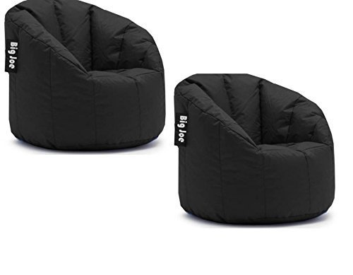 Big Joe Milano Bean Bag Chair | Filled with UltimaX Beans | Soft but Firm Support (Set of 2 - Limo Black)
