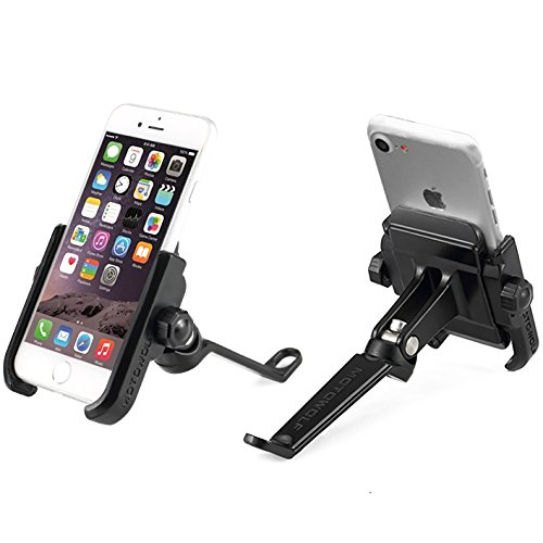 Motorcycle Phone Mount for Side Mirror Premium Aluminum Holder Fits iPhone 11, X, 7   7 Plus, 8   8 Plus, iPhone 6s   6s Plus, Galaxy S7, S6, S5, Holds Phones Up to 3.7' Wide (BlackSideMirror)