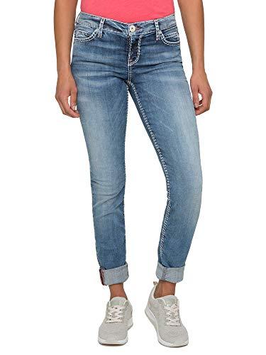 SOCCX Damen Stretch-Jeans HE:DI mit Vintage Stone Waschung