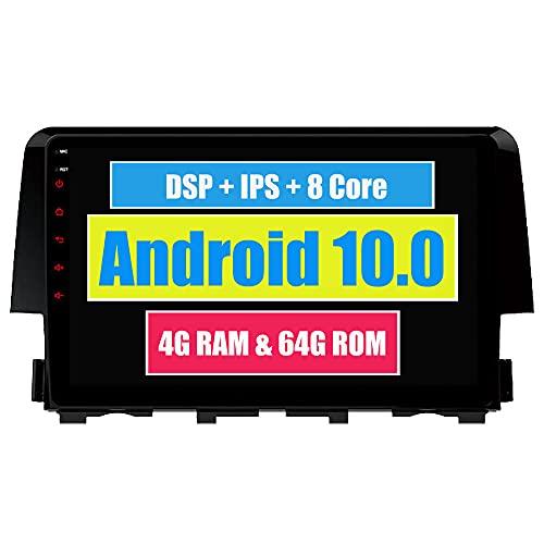 RoverOne 9 Pouces Système Android Octa Core Autoradio Lecteur GPS de Voiture pour Honda Civic 2015 2016 2017 avec Navigation Radio stéréo Bluetooth Mirror Link Full écran Tactile