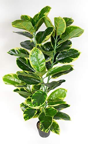 Seidenblumen Roß Gummibaum 120cm ZJ Kunstbaum Dekobaum Kunstpflanzen künstlicher Baum Ficus Elastica