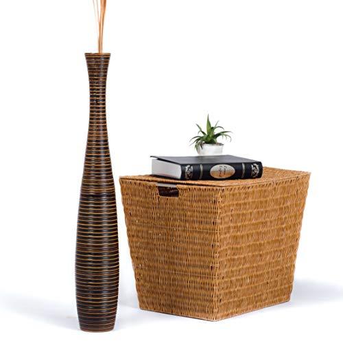 Leewadee Große Bodenvase für Dekozweige hohe Standvase Design Holzvase 75 cm, Mangoholz, braun