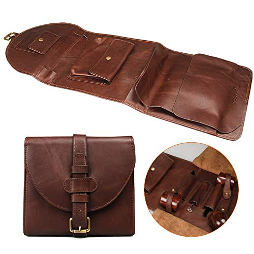 FHUILI Leather Tobacco Bag - Smoking Pipe Pouch Bag Organize Case Pipe Tool - Leather Tobacco Pouch Simple Fashion to Preserve Freshness - for 3 Pipe