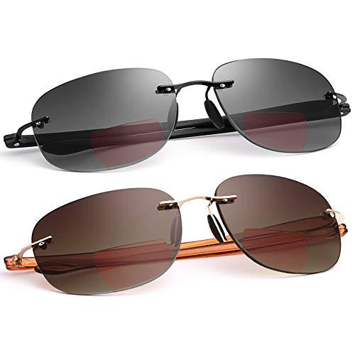 MIRYEA Lectores de sol bifocales sin montura unisex Gafas de lectura Protección UV400 Gafas de sol deportivas Bloqueo de luz azul Gafas ligeras para hombres y mujeres Anteojos de seguridad