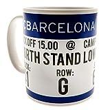 FCB FC Barcelona - Taza con diseño de entrada (Talla Única/Blanco/Azul)